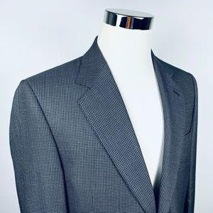 Canali 40L Sport Coat Silk Wool Blue Gold Check